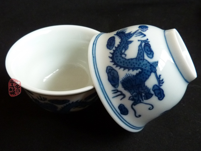 Big celadon cups (couple of 2) with Dragon pattern 50cc