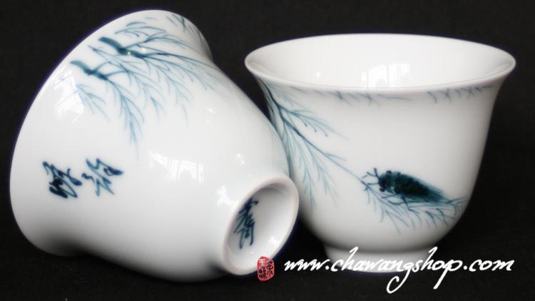 Hand painted Jingdezhen Tea Cup Cicada 55cc