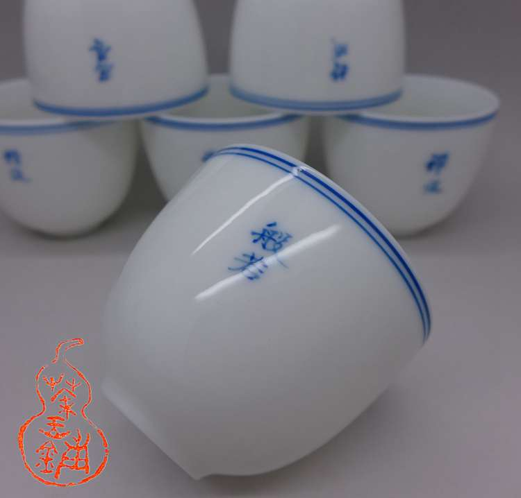 "Hand painted porcelain cup ""the Six Paramitas"" 60cc"