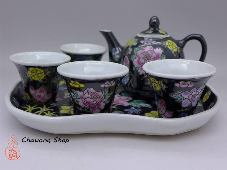 Jingdezhen Vintage Hand Painted Six-piece Tea Set Black Wan Hua