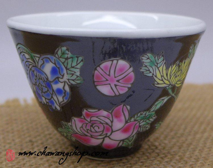 Jingdezhen Vintage Hand Painted Tea Cup Black Wan Hua 90cc
