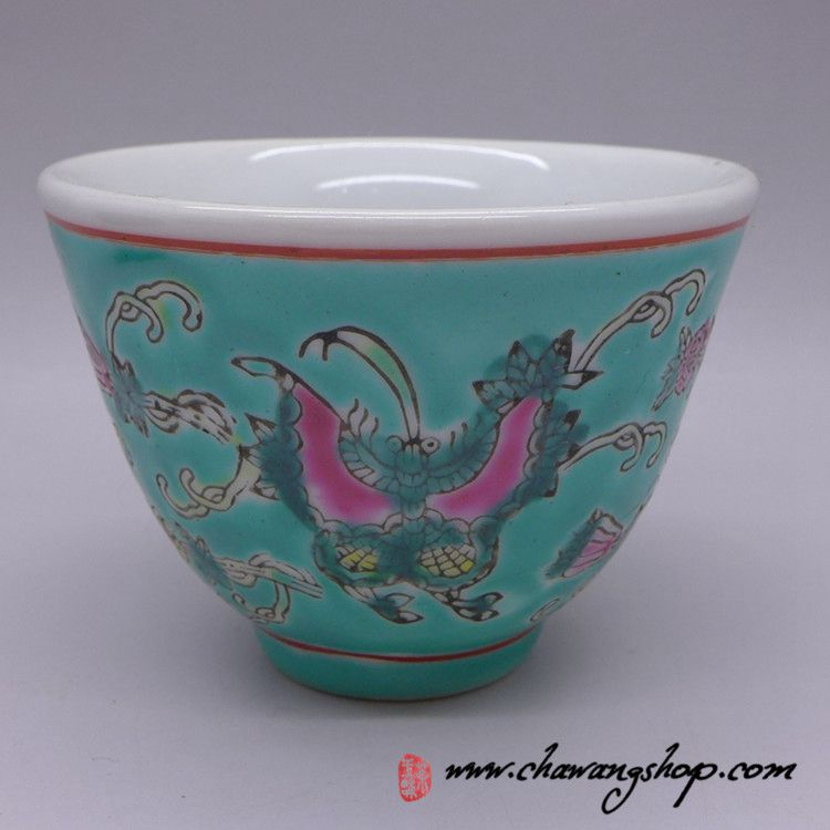 Jingdezhen Vintage Hand Painted Tea Cup Butterfly and Melon - Green 90cc