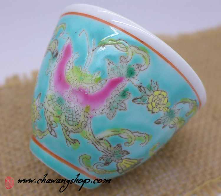 Jingdezhen Vintage Hand Painted Tea Cup Butterfly and Melon Green 50cc
