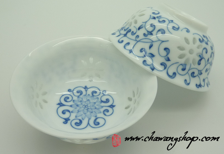 Porcelain White Cups With Chrysanthemum decor 50cc (Set of 2)