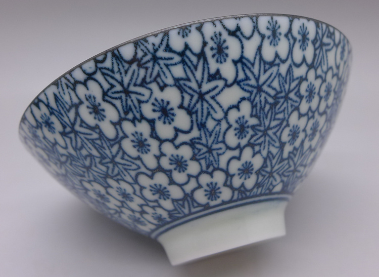 Porcelain blue and white cup plum and maple 80cc