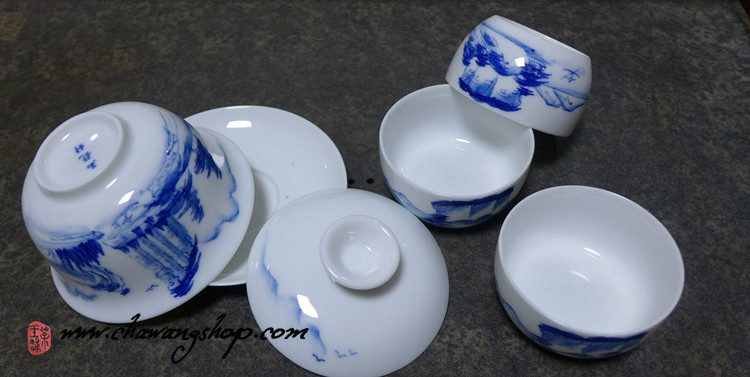 Porcelain set (1 Gaiwan+3 cups) With Landscape Painting Design