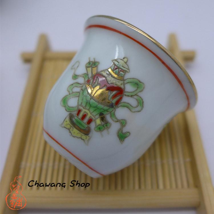 """Jingdezhen Vintage Hand Painted Tea Cup """"Bo Gu"""" 20cc"""