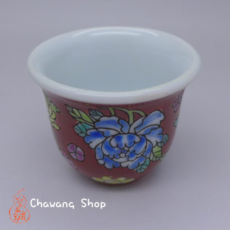 "Jingdezhen Vintage Hand Painted Tea Cup ""Hong Wan Hua"" 20cc"