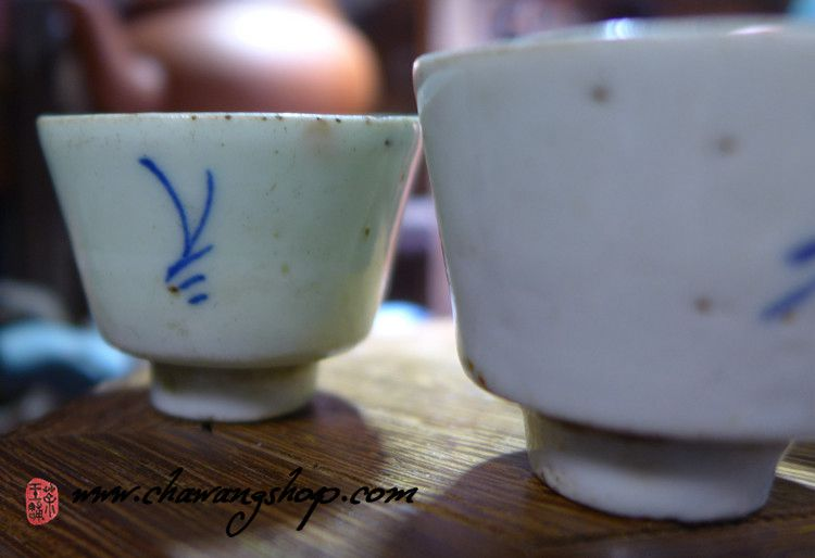Vintage Chaozhou Gongfu Tea Cups Set of three pieces A