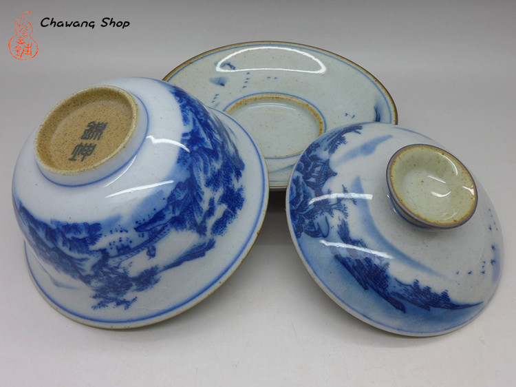 "Cracked Ice Pattern Porcelain Gaiwan ""Landscape painting"" 100ml"