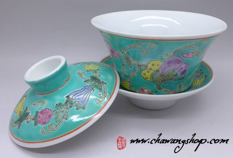 Jingdezhen Vintage Hand Painted Gaiwan Butterfly and Melon - Green 160cc