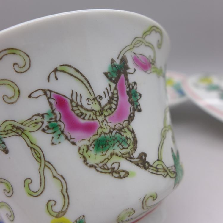 Jingdezhen Vintage Hand Painted Gaiwan Butterfly and Melon - White 160cc
