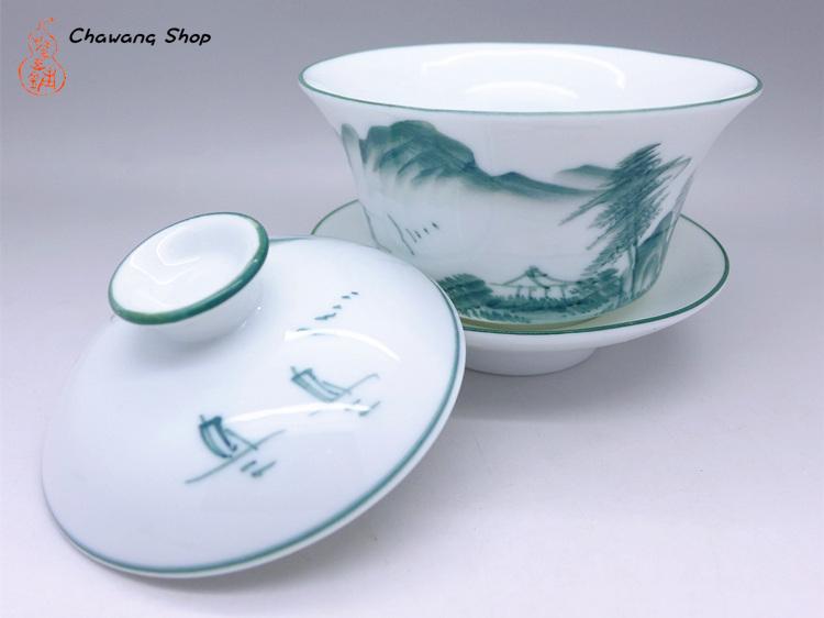 Porcelain Gaiwan With Landscape Painting Design Green 200cc