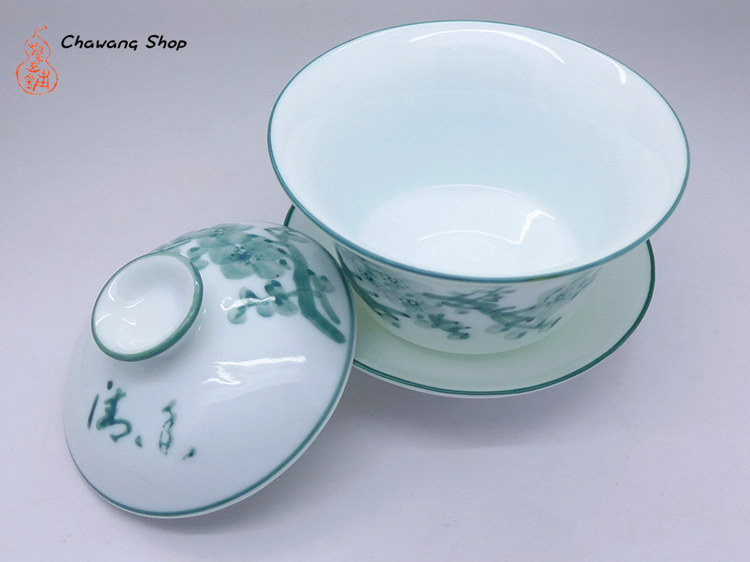 Porcelain Gaiwan With Plum Blossom Design Green 200cc