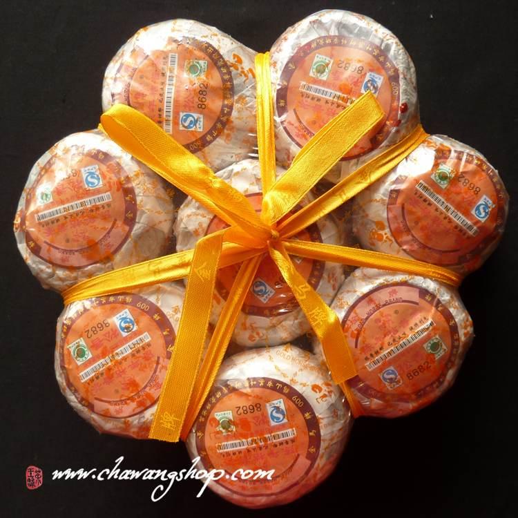 2012 Jinma (Golden Horse Brand) ripe puerh in tangerine 8685 Song Xiang