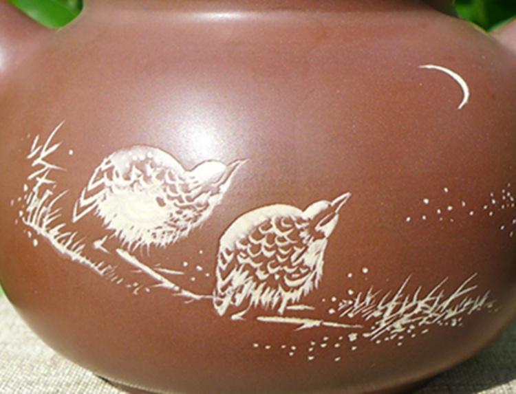 Nixing Teapot Yuan Zhu quail and moon 175cc