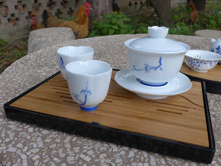 "Bamboo Tea Tray ""Mountains and rivers"" 25.5*18.8*2.3CM"
