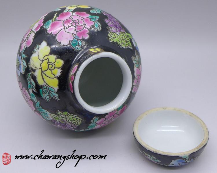"Jingdezhen Vintage Hand-painted Tea Caddy ""Black Wan Hua"" 7.5CM"