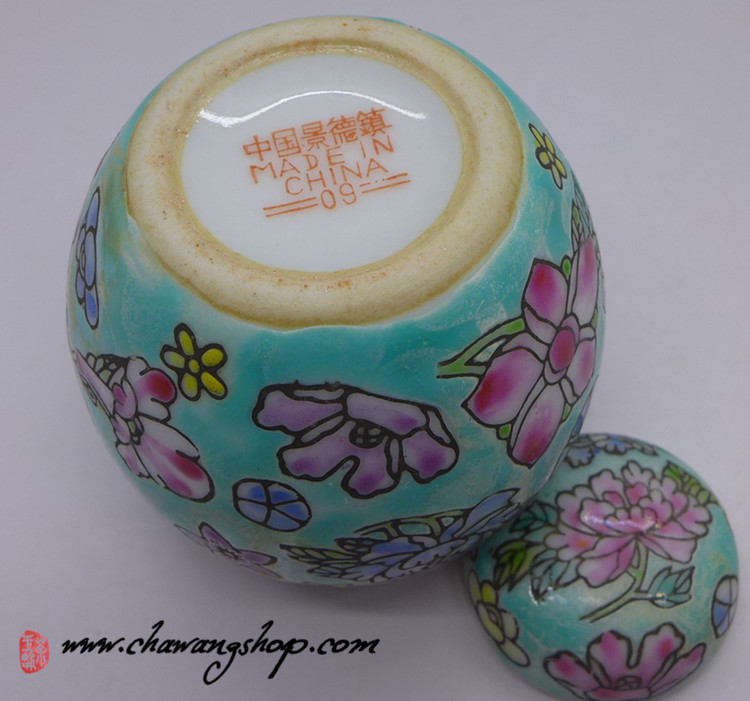 "Jingdezhen Vintage Hand-painted Tea Caddy ""Green Wan Hua"""