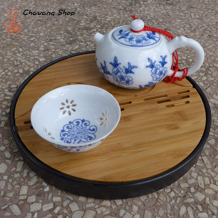 "Round Bamboo Tea Tray ""Mountains and rivers"" 20.2*2.3CM"