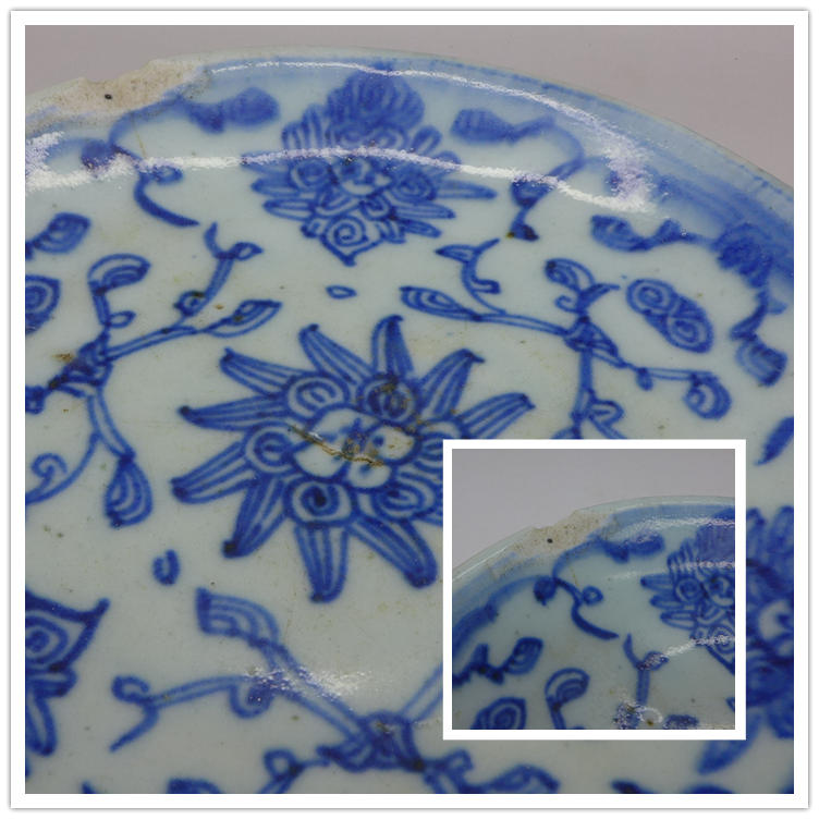 "Vintage Blue-and-white plate ""Entangled Floral Branch"" C"