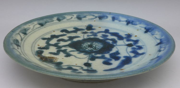 Vintage Blue and White Floral Motive Plate A