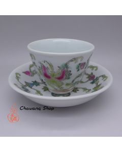 """Jingdezhen Vintage Hand Painted Tea Cup and Saucer Set """"Butterfly and Melon- White"""""""