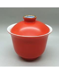 Coral Red Porcelain Gaiwan 150cc