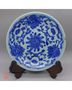 "Vintage Blue-and-white plate ""Entangled Floral Branch"" B"