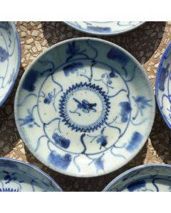 "Vintage Blue-and-white Porcelain Plate ""Ganoderma"""