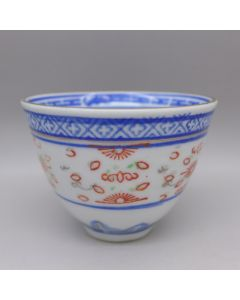 "Jingdezhen Vintage Tea Cup ""Rice Grain Pattern"" with colored decoration 65cc"