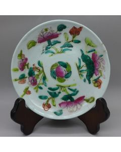 "Vintage Famille-rose Plate ""Four seasons flowers"" B"