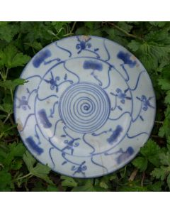 "Vintage Blue-and-white plate ""Ganoderma"""