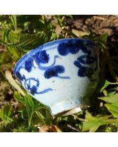 "Vintage Blue and White Porcelain Bowl ""Lingzhi mushroom"" ?ml"