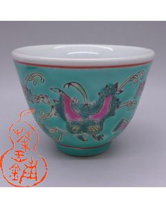 """Jingdezhen Vintage Hand Painted Tea Cup """"Butterfly and Melon - Green"""" 90cc"""