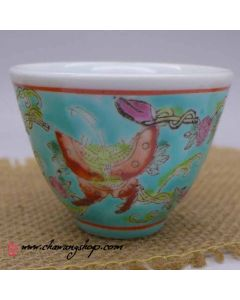 "Jingdezhen Vintage Hand Painted Tea Cup ""Butterfly and Melon - Green"" 50cc"