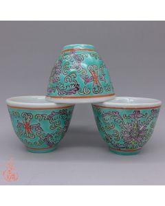 "Jingdezhen Vintage Hand Painted Tea Cup ""Green Yang Lian"" 50cc"