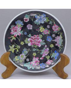 Jingdezhen Vintage Hand Painted Tea Plate Black Wan Hua