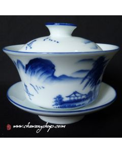 Porcelain Gaiwan With Landscape Painting Design Blue 200cc