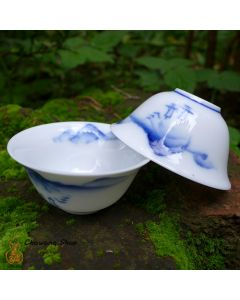 "Chaozhou Gongfu Tea Cups 30ml ""Landscape"" - a set of two"
