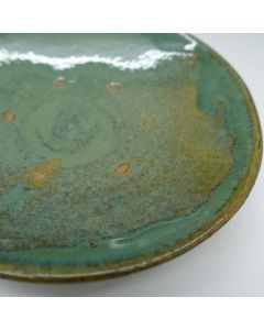 "Vintage Lufeng Pottery Green Plate ""A"""