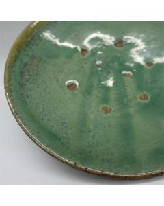 "Vintage Lufeng Pottery Green Plate ""F"""