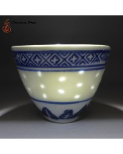 "Jingdezhen Vintage Tea Cup ""Rice Grain Pattern"" 65cc"