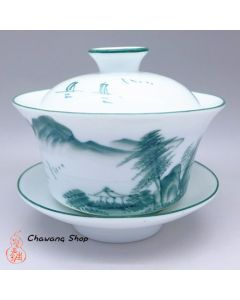 Porcelain Gaiwan With Landscape Painting Design Green 200cc