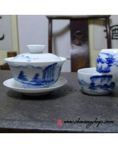 Porcelain set (1 Gaiwan+3 cups) With Landscape Painting Design