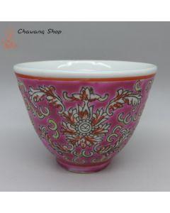 """Jingdezhen Vintage Hand Painted Tea Cup """"Red Yang Lian"""" 90cc"""