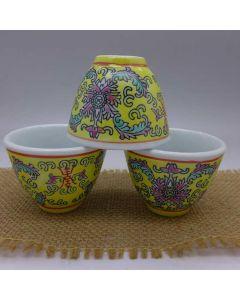 "Jingdezhen Vintage Hand Painted Tea Cup ""Yellow Yang Lian"" 50cc"