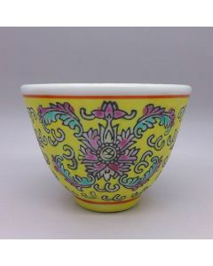 "Jingdezhen Vintage Hand Painted Tea Cup ""Yellow Yang Lian"" 90cc"