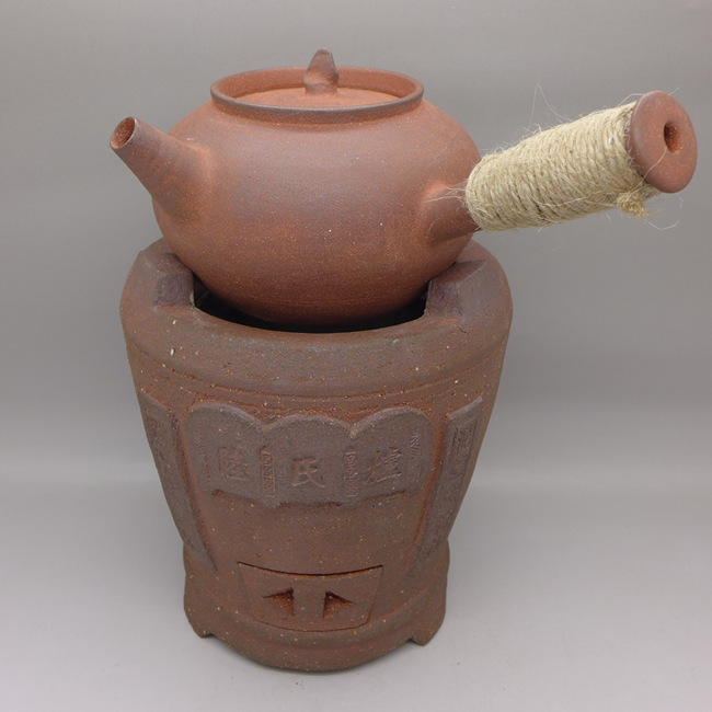 Chaozhou Red Clay Pot With hemp rope decoration 380ml