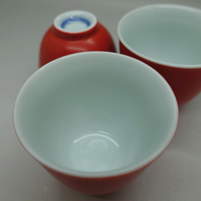 Coral Red Porcelain Cup 40ml